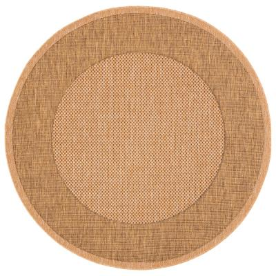 Safavieh Courtyard Natural/Gold 5 ft. x 5 ft. Indoor/Outdoor Round Area Rug