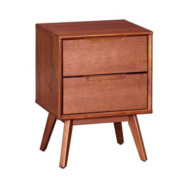 Mid Century Modern Style 2-Drawer Brown Wooden Nightstand with Angled Legs 15'' L x 17.99'' W x 23.98'' H