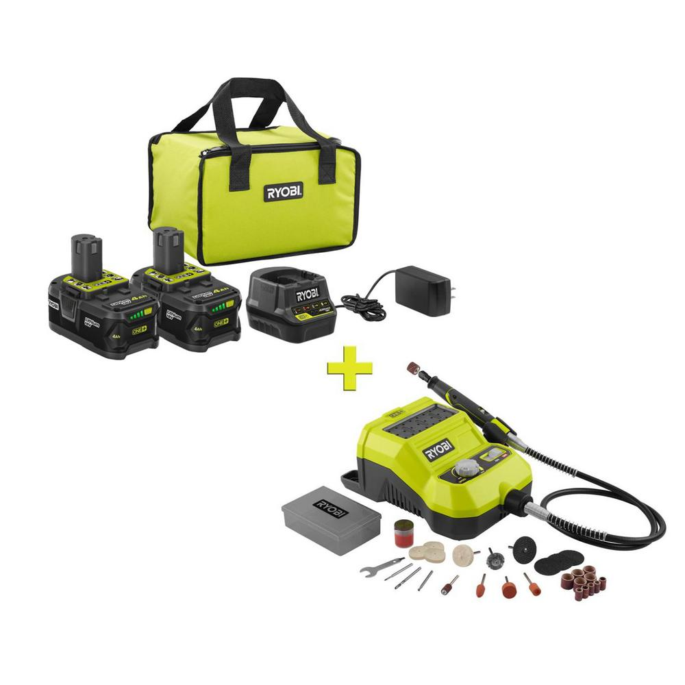 RYOBI 18-Volt ONE+ High Capacity 4.0 Ah Battery (2-Pack) Starter Kit with Charger and Bag with FREE ONE+ Cordless Rotary Tool was $301.0 now $99.0 (67.0% off)