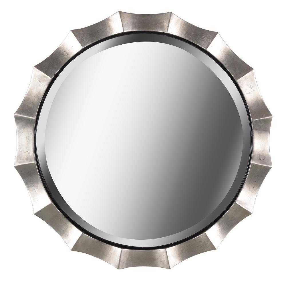 Medium Round Silver Hooks Contemporary Mirror (34 in. H x 34 in. W)