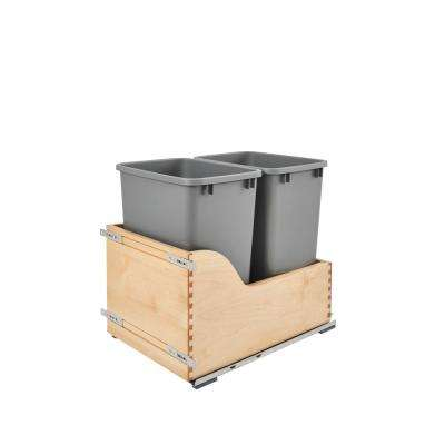 20.38 in. H x 15 in. W x 22.5 in. D Double Pull-Out Bottom Mount and Silver Waste Container with Soft-Close Slide