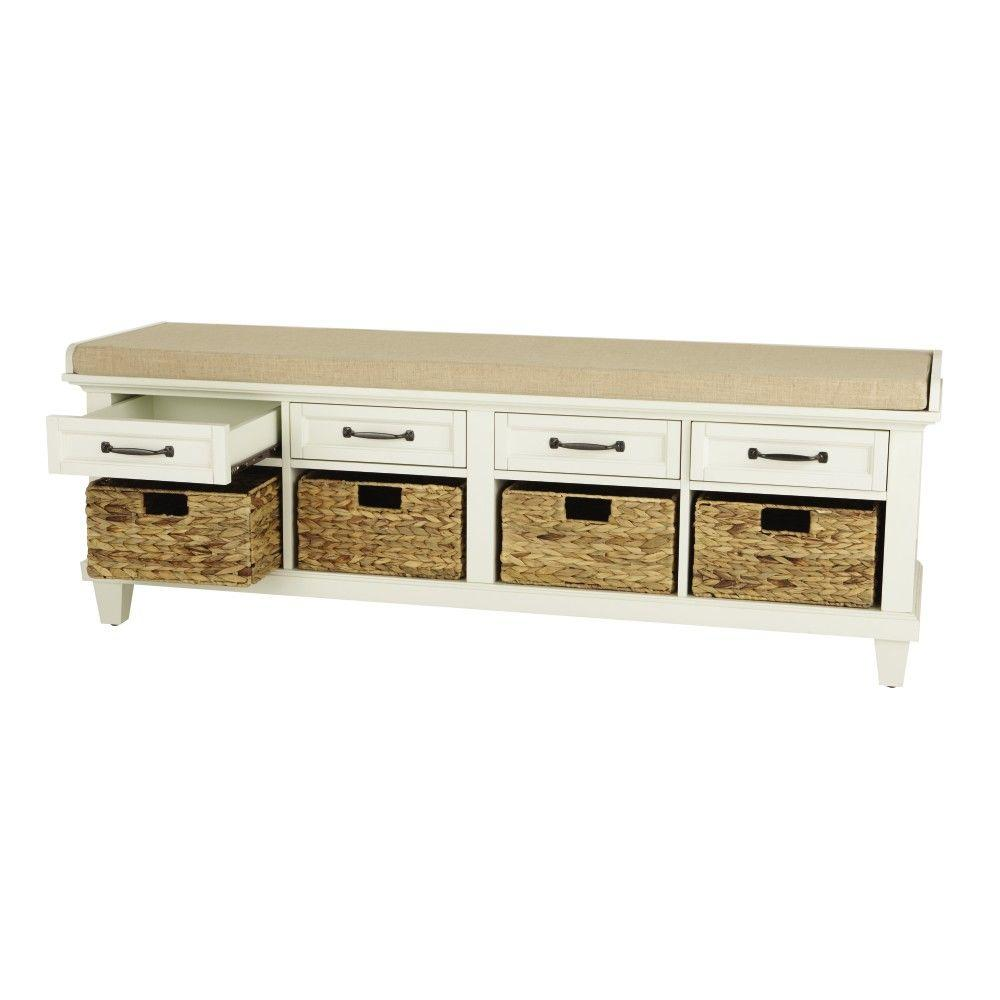 Home decorators collection martin ivory shoe storage bench for Home depot home decorators