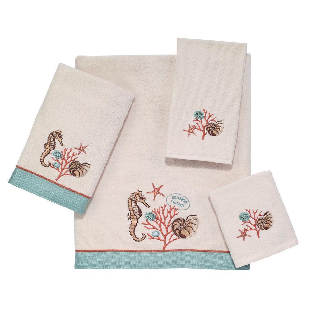 Seaside Vintage 4-Piece Bath Towel Set in Ivory