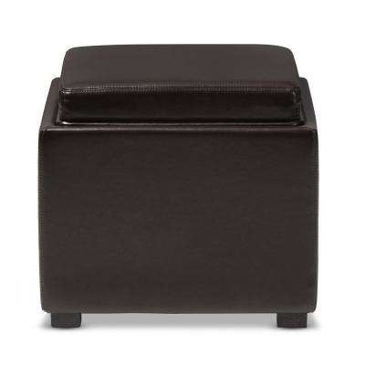 Tate Contemporary Dark Brown Leather Upholstered Storage Ottoman