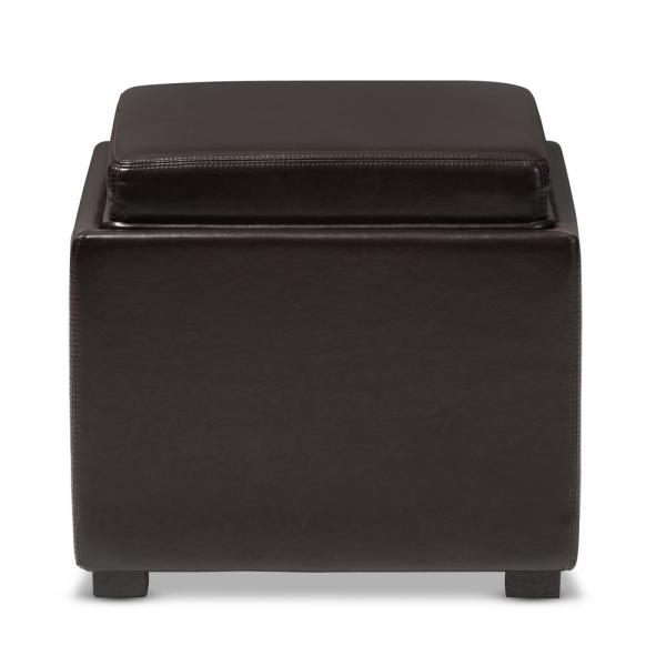 Baxton Studio Tate Contemporary Dark Brown Leather Upholstered Storage Ottoman