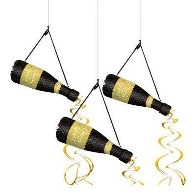 New Year's 25.25 in. Bottle Hanging Decoration (3-Count, 2-Pack)