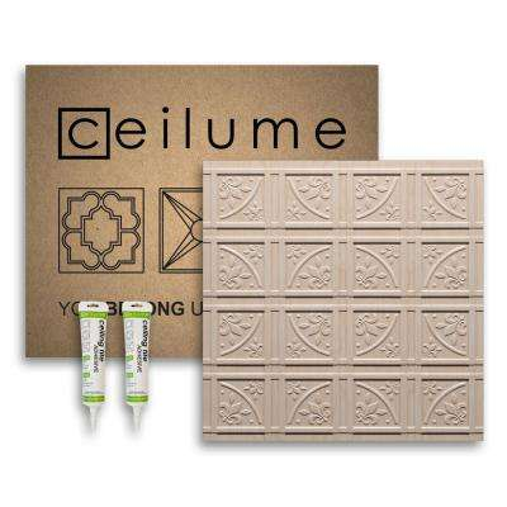 Lafayette Faux Wood-Sandal 2 ft. x 2 ft. Glue-up Ceiling Tile and Backsplash Kit