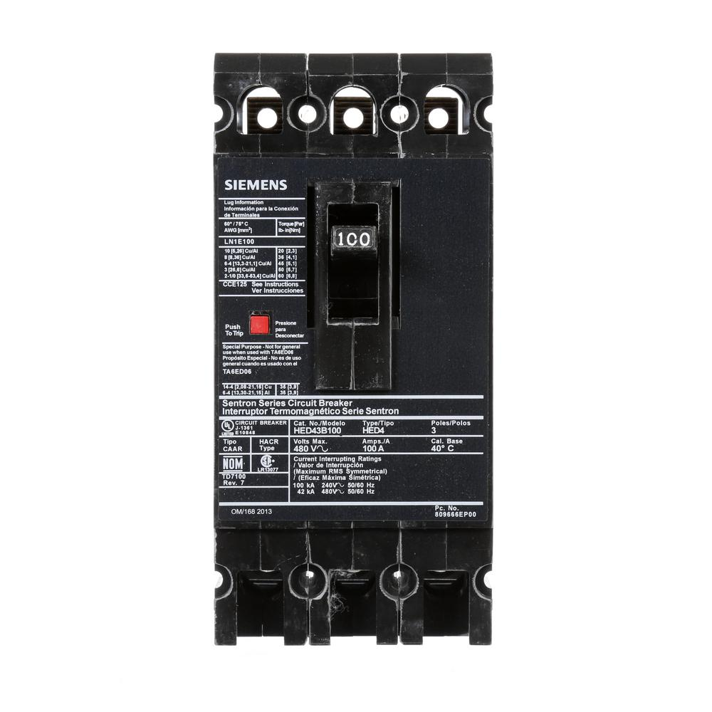 siemens 100 amp 3 pole type ed 42 ka circuit breaker. Black Bedroom Furniture Sets. Home Design Ideas