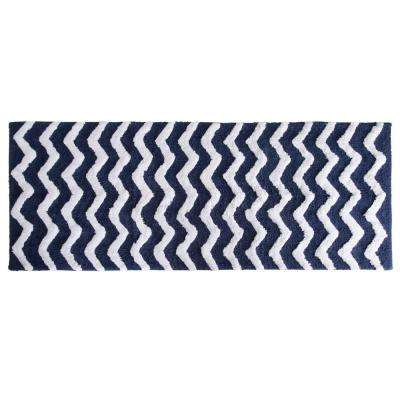 Chevron Navy 24 in. x 60 in. Bathroom Mat