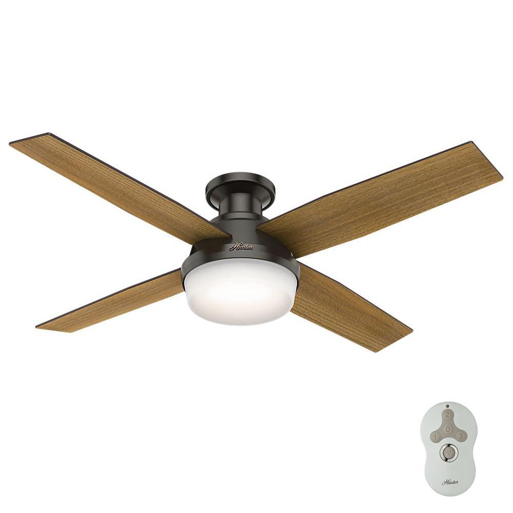 Hunter southwestern ceiling fans lighting the home depot low profile led indoor noble bronze ceiling fan with light aloadofball Images