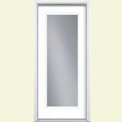 36 in. x 80 in. Full Lite Pure White Left Hand Inswing Painted Smooth Fiberglass Prehung Front Door w/ Brickmold