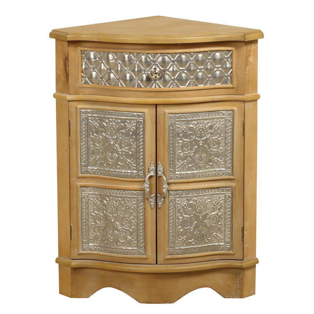 Natural Wood Corner Cabinet