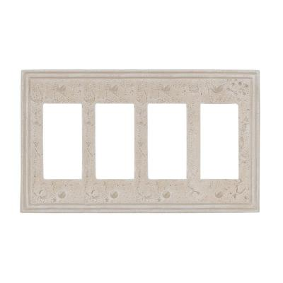 Faux Stone 4 Gang Rocker Resin Wall Plate - Almond