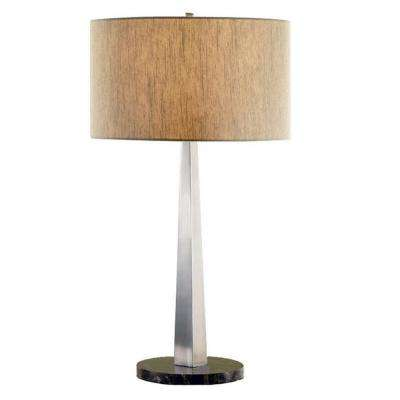 Luxor Contemporary 32 in. Square-Tapered Brushed Steel Table Lamp with Marble Base and Rounded Tan Shade
