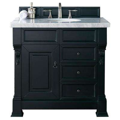 Brookfield 36 in. W Single Vanity with Drawers in Antique Black with Marble Vanity Top in Carrara White with White Basin