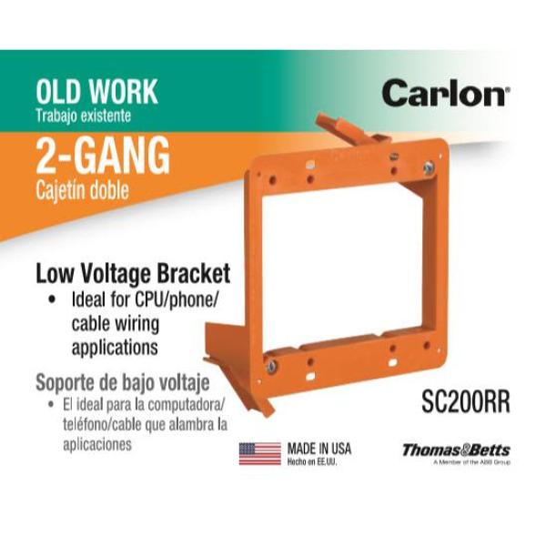 Carlon 2-gang Backless Low Voltage Electrical Bracket #SC200A Box Of 24