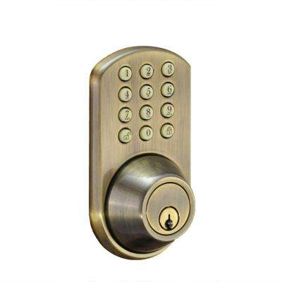 Single Cylinder Antique Brass Electronic Touch Pad Deadbolt