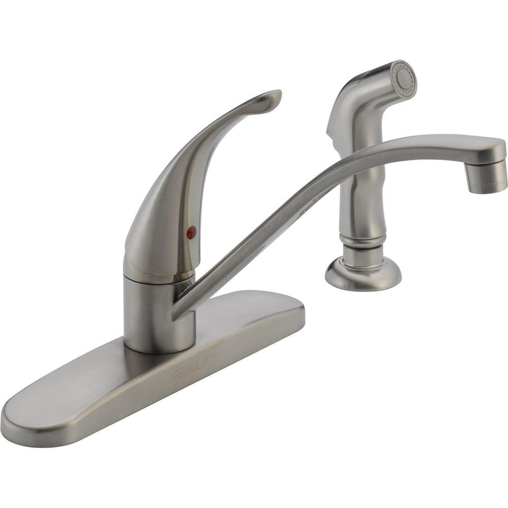 Peerless Choice Single-Handle Standard Kitchen Faucet with Side Sprayer in Stainless