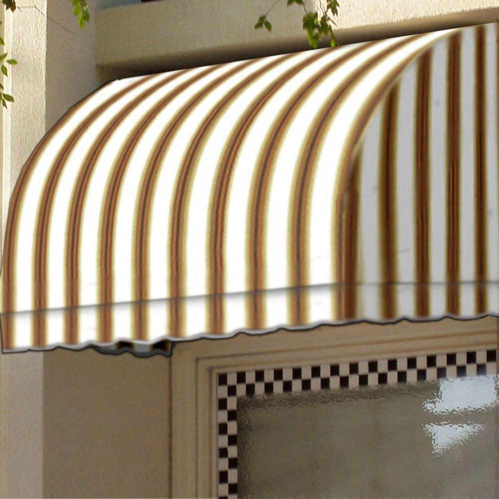 5 ft. Savannah Window/Entry Awning (44 in. H x 36 in. D) in White/Linen/Terra cotta Stripe