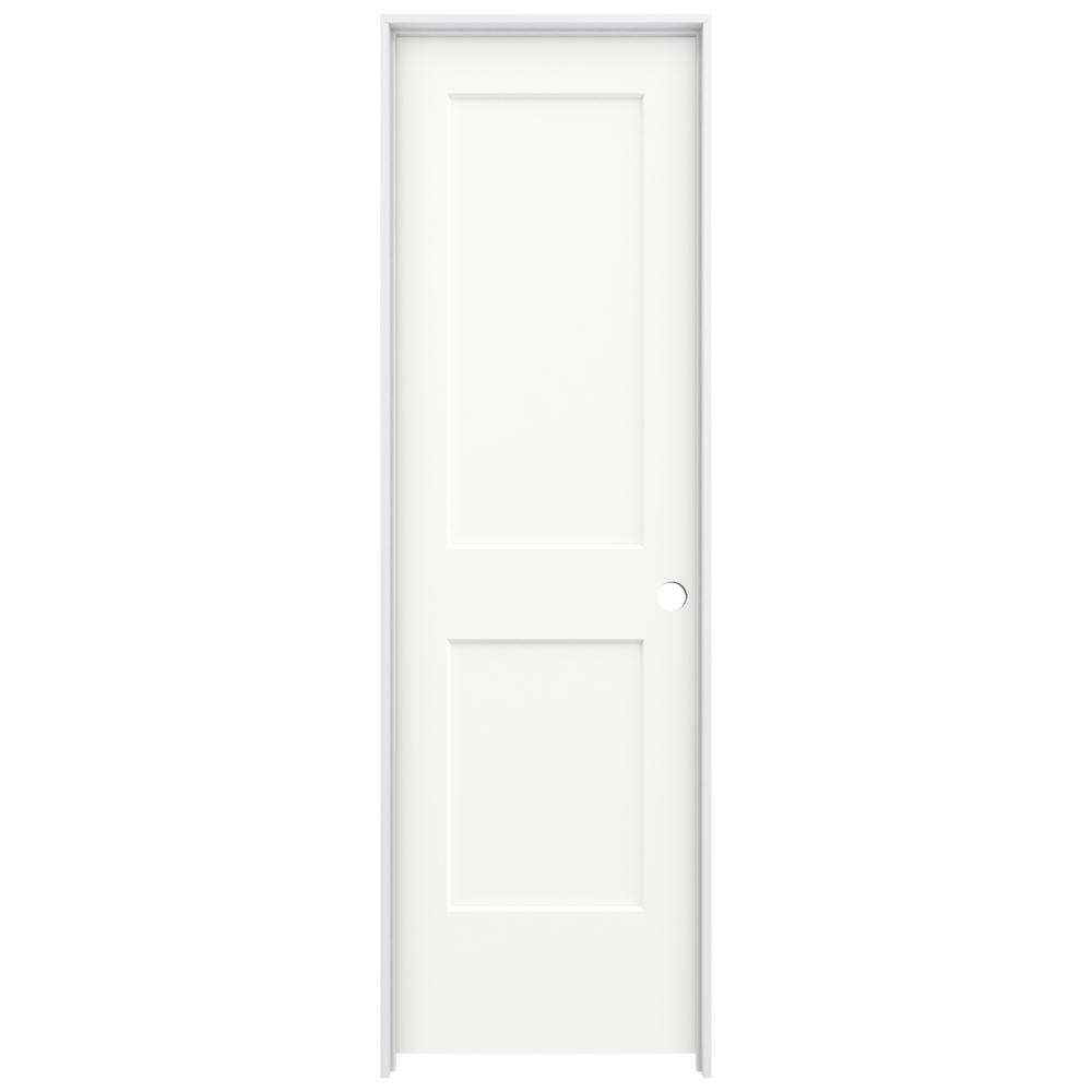 Jeld Wen 24 In X 80 In Monroe White Painted Left Hand Smooth Solid Core Molded Composite Mdf