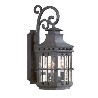 Dover 3-Light Natural Bronze Outdoor Wall Mount Lantern