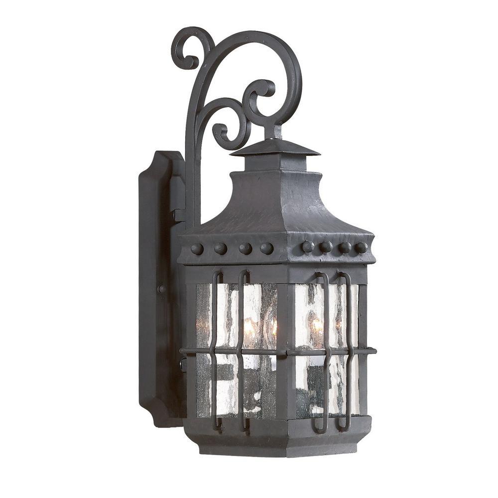 Dover 3-Light Natural Bronze Outdoor Wall Mount Lantern