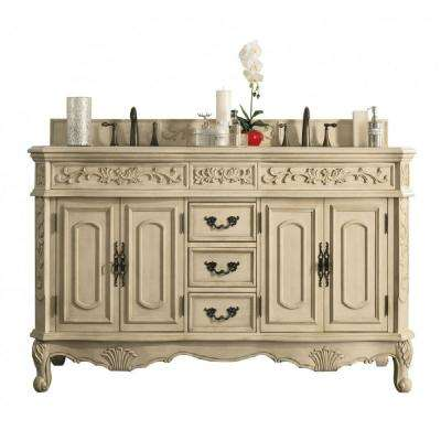 Riviera 72 in. W Double Vanity in Parchment with Galala Beige Marble Vanity Top with White Basin