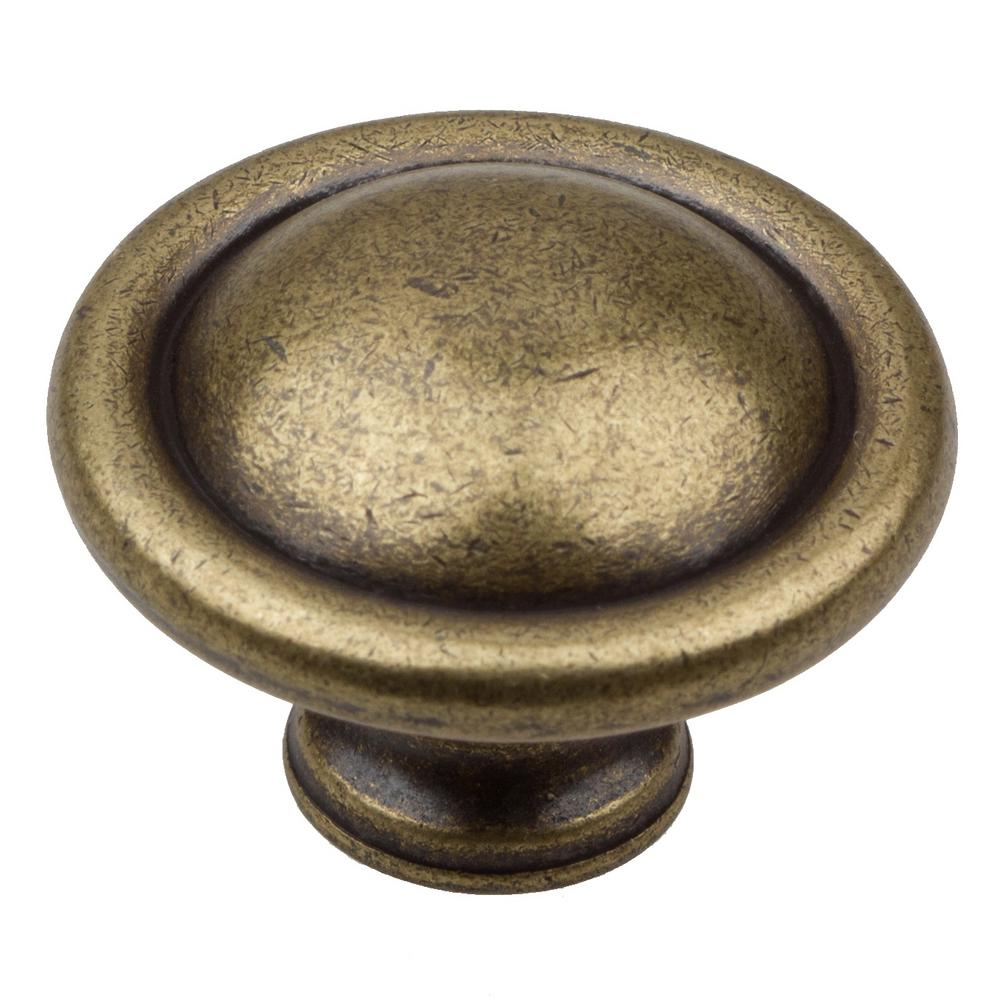 Martha stewart living 1 1 8 in bedford brass button for Antique knobs for kitchen cabinets
