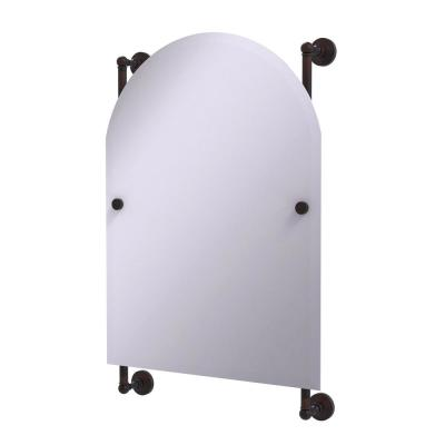 Waverly Place Collection Arched Top Frameless Rail Mounted Mirror in Venetian Bronze