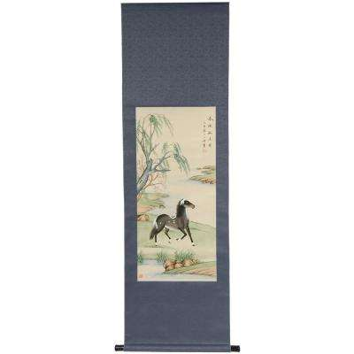 "64 in. x 23 in. ""Riverside Stallion Scroll"" Wall Art"
