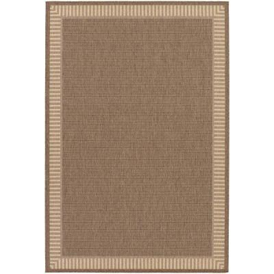 Recife Wicker Stitch Cocoa-Natural 5 ft. x 8 ft. Indoor/Outdoor Area Rug