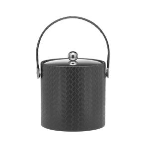 Kraftware San Remo Eclipse 3 Qt. Ice Bucket with Stitched Handle, Metal Lid by Kraftware