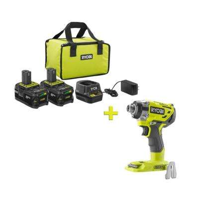 18-Volt ONE+ High Capacity 4.0 Ah Battery (2-Pack) Starter Kit with Charger and Bag w/FREE ONE+ Brushless Impact Driver