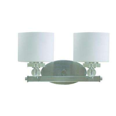 Mitchell Peak 2-Light Satin Steel Bathroom Vanity Light with Dove White Glass Shade