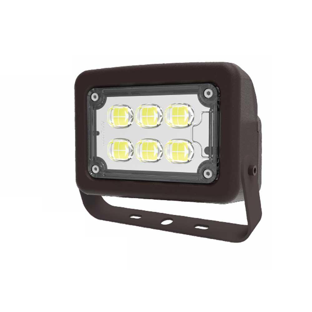 120-Volt to 277-Volt Yoke Line Voltage Bronze Outdoor Integrated LED Small Landscape Flood Light, Selectable