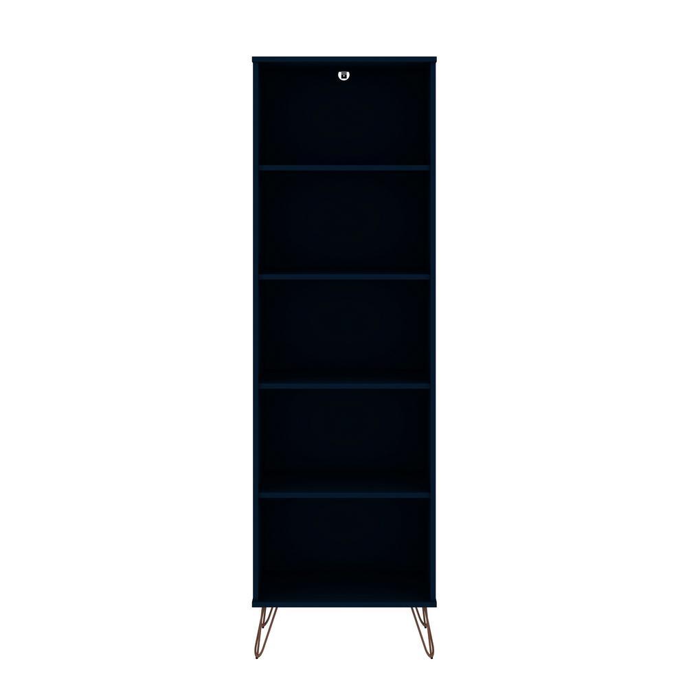 Rockefeller 69.29 in. Tatiana Midnight Blue 5-Shelf Bookcase 2.0