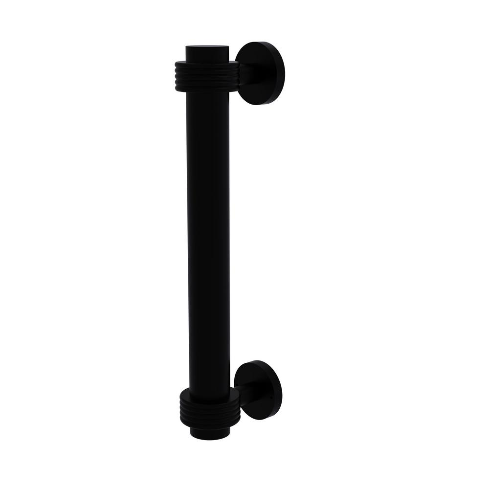 Charmant Door Pull With Groovy Accents In Matte Black