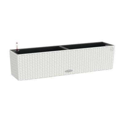 Trend Balconera Cottage 31 in. x 7 in. Rectangle White Balcony Self Watering Plastic Planter