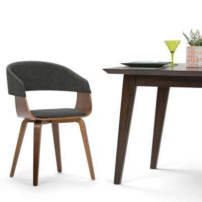 Lowell Charcoal Grey and Natural Linen Look Fabric Bentwood Dining Chair (Set of 1)