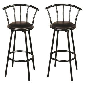 Stupendous Buckner 29 Metal Bar Stools With Faux Leather Swivel Seat Black Set Of 2 Theyellowbook Wood Chair Design Ideas Theyellowbookinfo