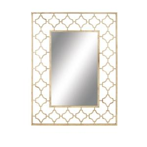 Modern Rectangular Gold Quatrefoil Wall Mirror