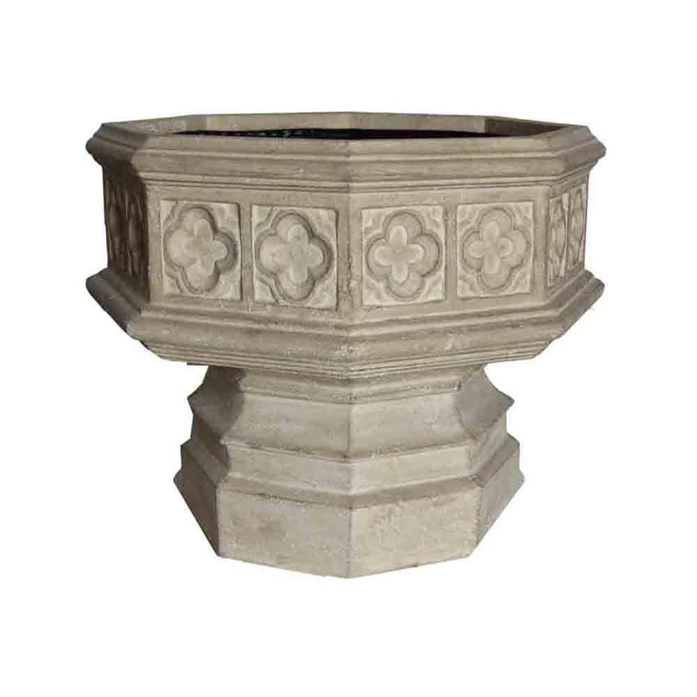 24 in. x 19-1/2 in. Cast Stone Hexagonal Gothic Urn in Li...