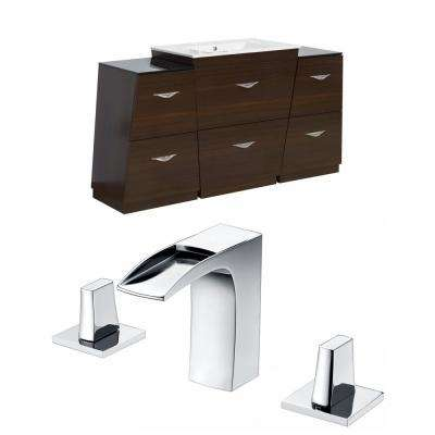 16-Gauge-Sinks 53 in. W x 18.5 in. D Bath Vanity in Wenge with Ceramic Vanity Top in White with White Basin