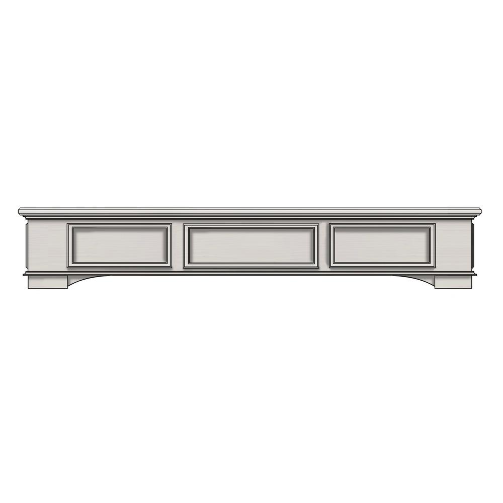 Cambridge 6 ft. Box Style Wood with Antique White Cap-Shelf Mantel