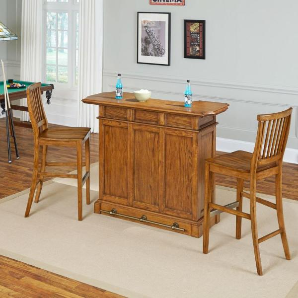 Home Styles Americana 3-Piece Oak Bar Table Set