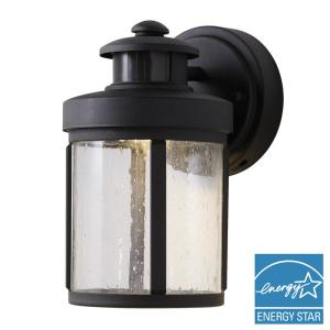 Black Motion Sensor Outdoor Integrated LED Small Wall Mount Lantern