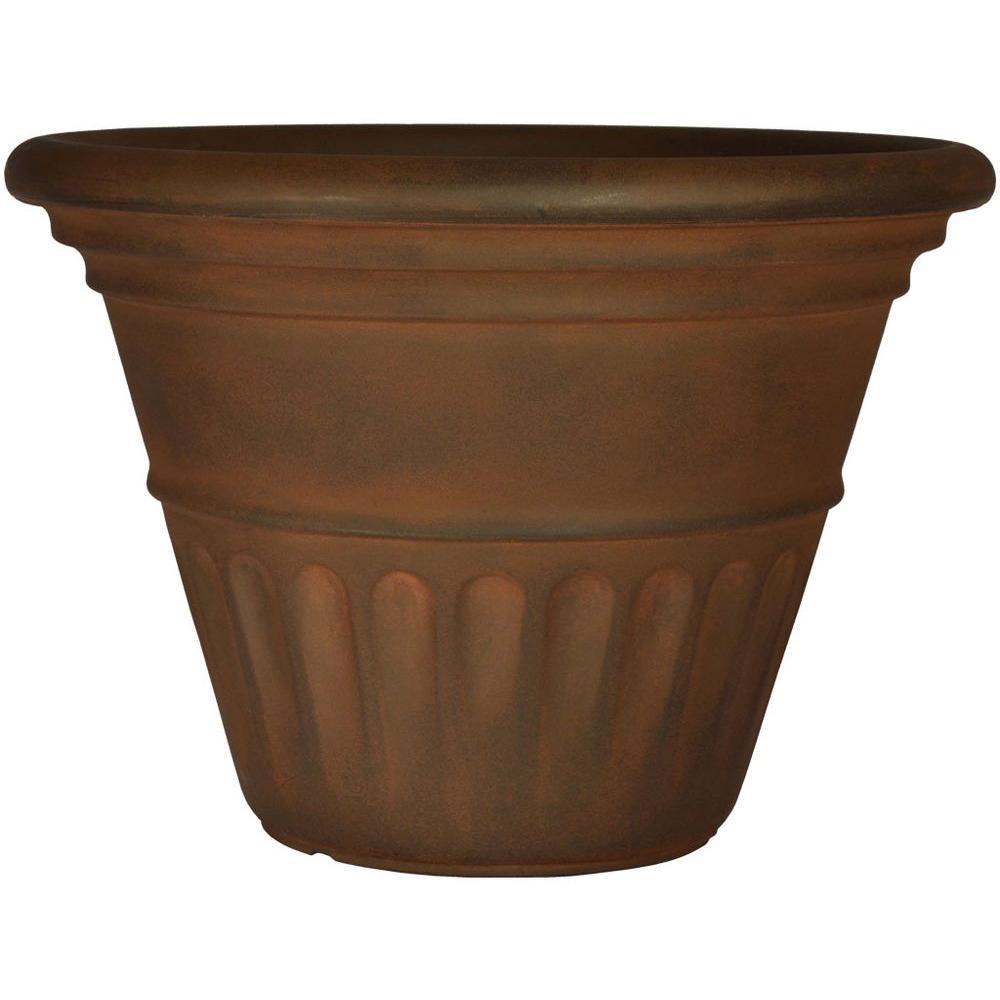 Planters Online 24 in. Round Rust Resin Venezia Planter