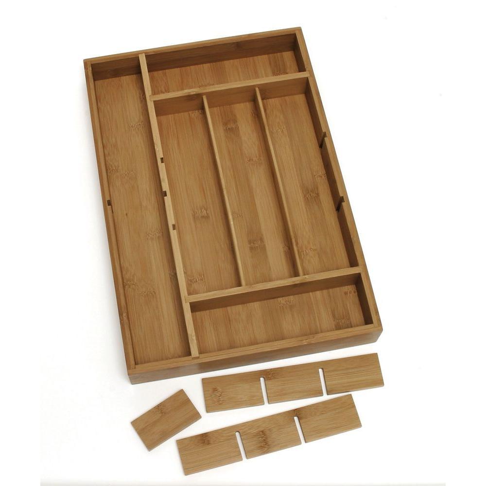 Lipper International 2 in. x 12 in. x 17.5 in. Bamboo Adjustable Drawer Organizer