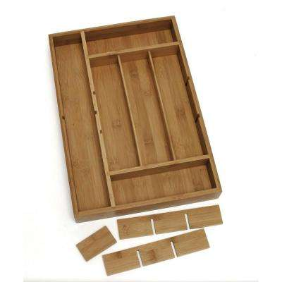 2 in. x 12 in. x 17.5 in. Bamboo Adjustable Drawer Organizer