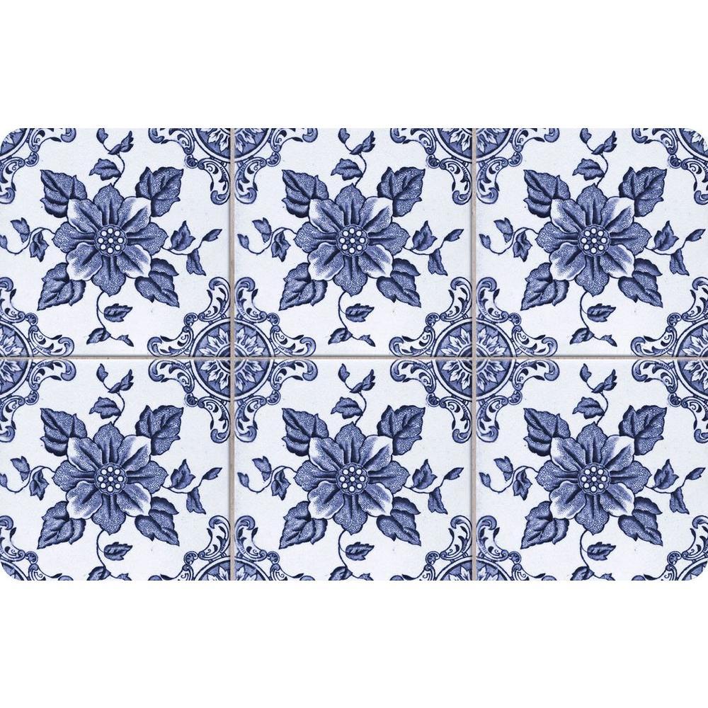 Bungalow Flooring Multi Color 23 In. X 36 In. Neoprene Delft Floral Door  Mat 20389182336   The Home Depot